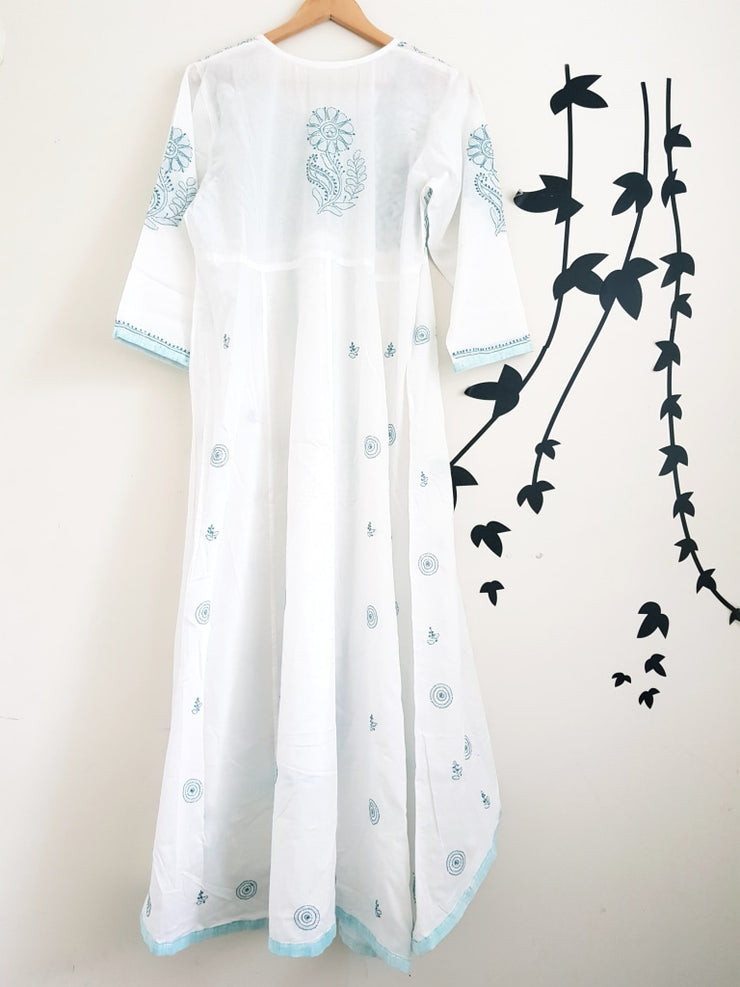 White Long Dress-Hand Embroidered Soft Cotton Voile Tunic