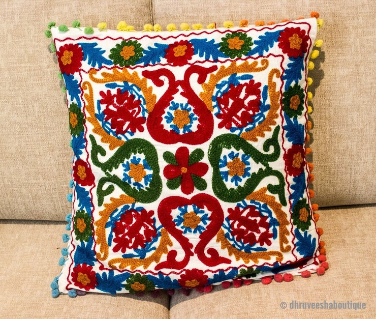White Suzani Floral Embroideried Pillow Cover
