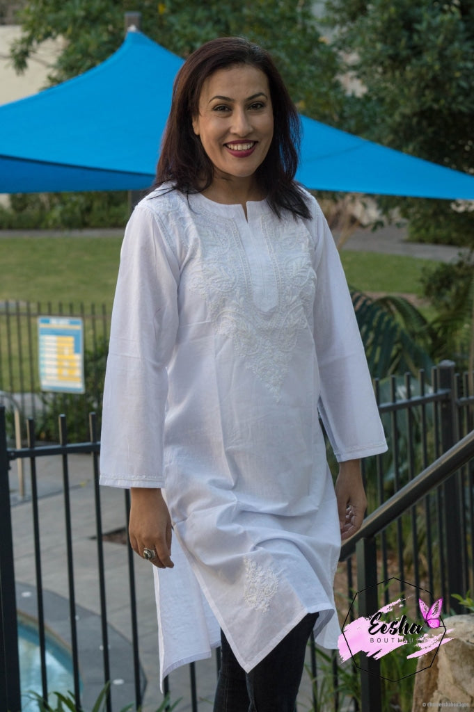 White Tunic - Hand Embroidered Long