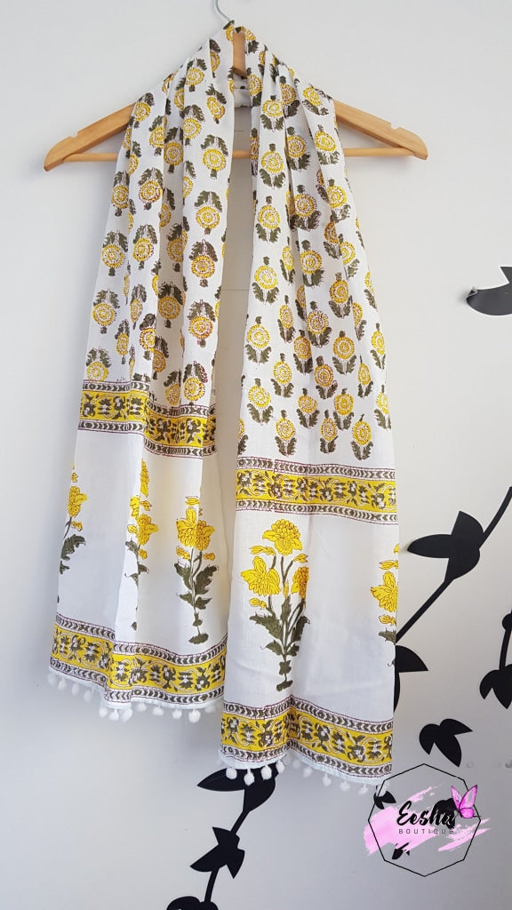 Yellow Block Print Indian Organic Cotton Voile Stole/scarve Stole