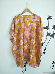 Yellow Floral Embroidered Kaftan