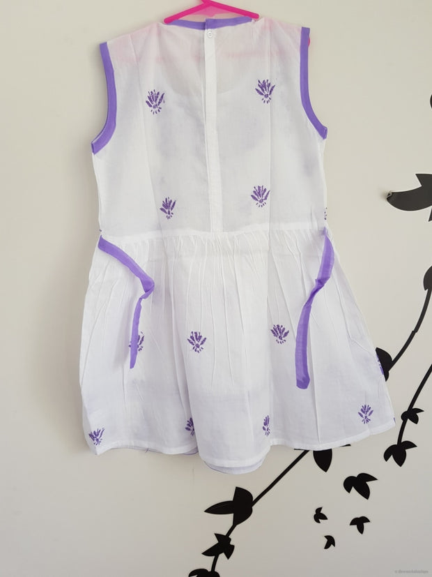 Young Girl Frock Dress-Purple Thread Embroidery Girls