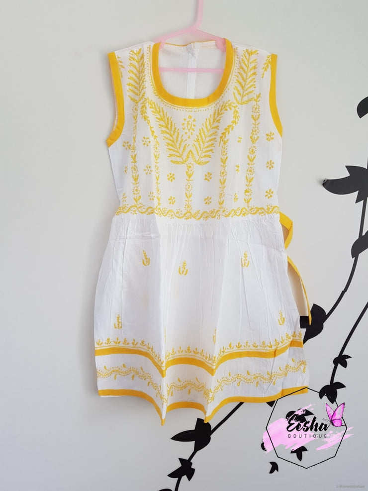 Young Girl Frock Dress-Yellow Thread Embroidery Girls