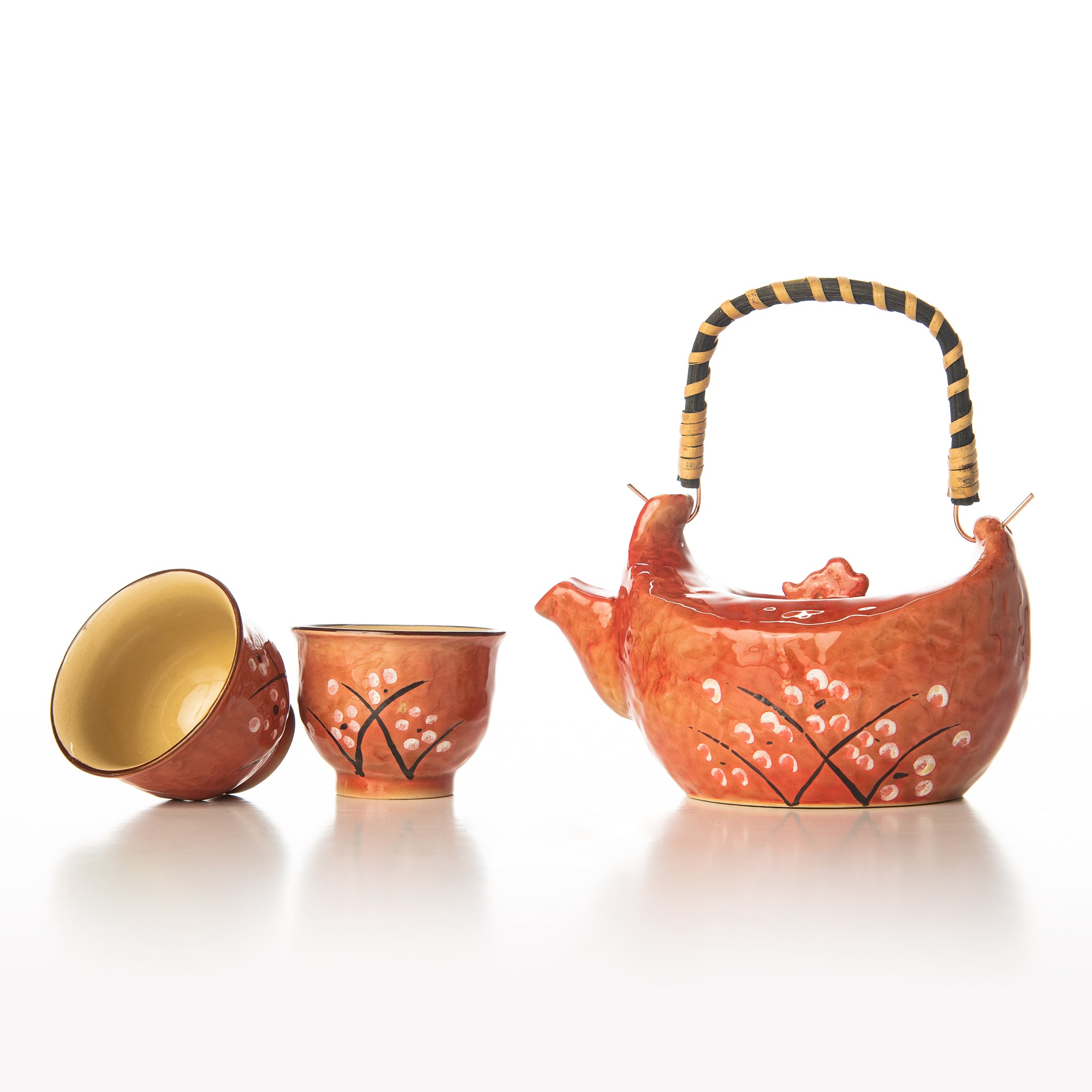 Red Terra Cotta Cherry Blossom Tea Set