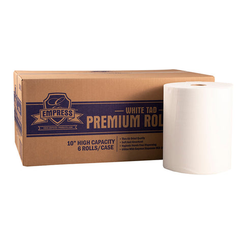 "10"" TAD Premium Hardwound Towel 800 ft. White (Case of 6 Rolls) - Raemart"