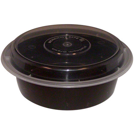 "Microwave Safe Containers 6"" Round Black 16 oz 150 Sets - Raemart"