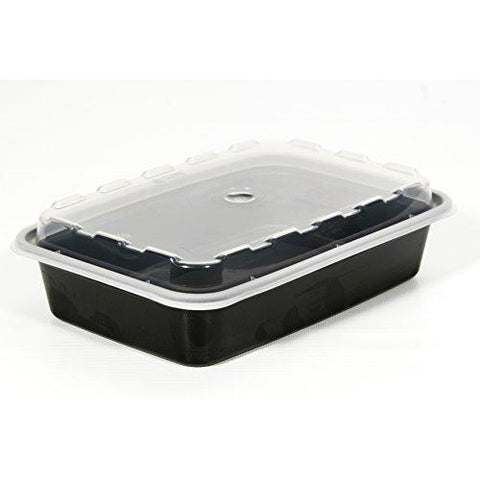 Microwave Safe Containers 16 oz Black Base 150 Sets with Lids - Raemart