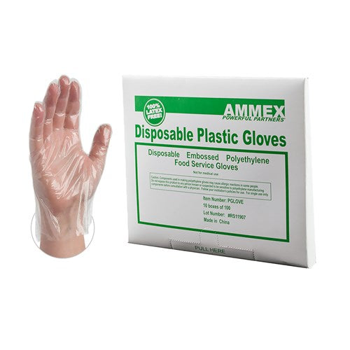 PE Gloves, Clear, Food Serving Plastic Gloves (Box of 1000) - Raemart