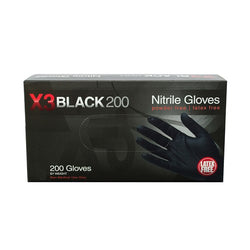 Black Nitrile Industrial Latex Free Gloves (Box of 200 Gloves) - Raemart