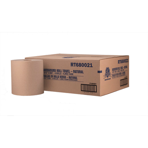 "Empress 8"" Natural Hardwound Paper Towel 800 ft. (Case of 6 Rolls) - Raemart"