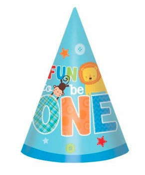 One Wild Fun To Be Boy Cone Hats 1st Birthday