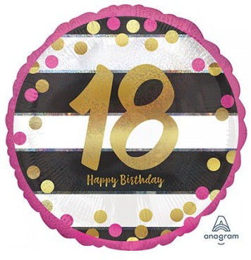 Pink Gold And Black 18th Birthday 45 Cm Balloon Helium Quality