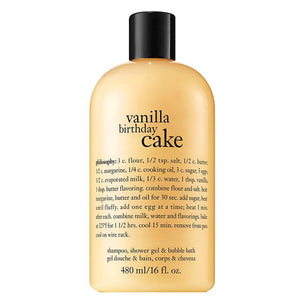 Philosophy Vanilla Birthday Cake Shampoo, Shower Gel and Bubble Bath 480ml