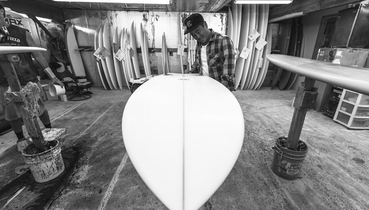 Craig at Waialua Sugar Mill Surfboard Glassers