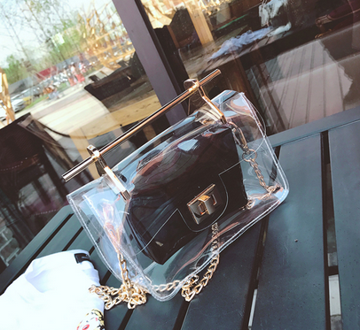 Transparent Clear Jelly Handbag with Gold Chain & removeable black inner - Buy Online