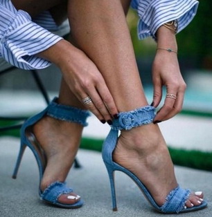 Abigale Denim Frilly Strappy Heel - Buy Online