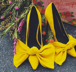 Arabella Mustard Yellow Voux Ribbon Heels - Buy Online