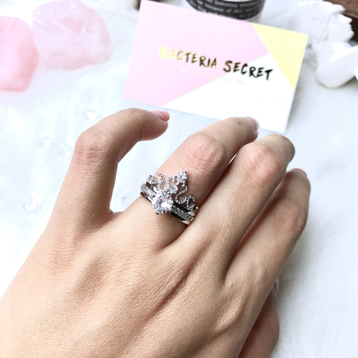 Crown Detachable Crystal Silver Ring