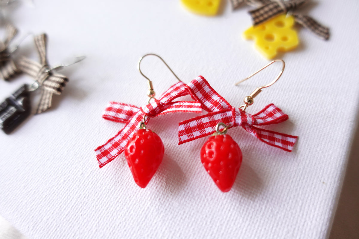 Strawberry Ribbon Earrings