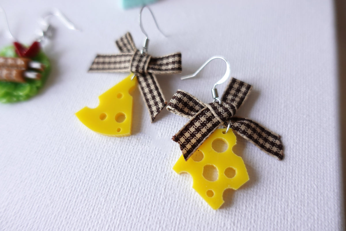 Cheese Earrings with Ribbons