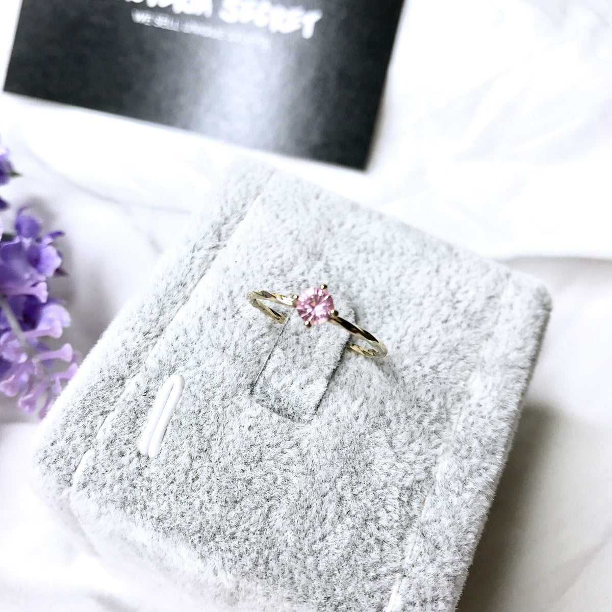 Aldora Pink Crystal Gold Plated Ring