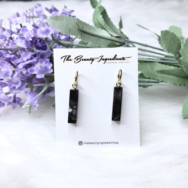Black Marble Cellulose Mi Rectangle Earrings Studs