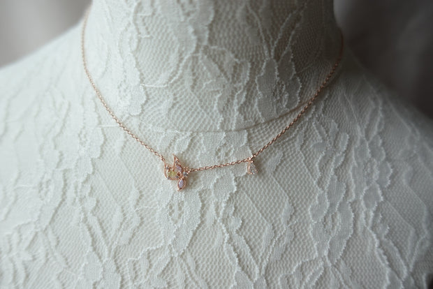 Butterfly Dangling Crystal Short Necklace