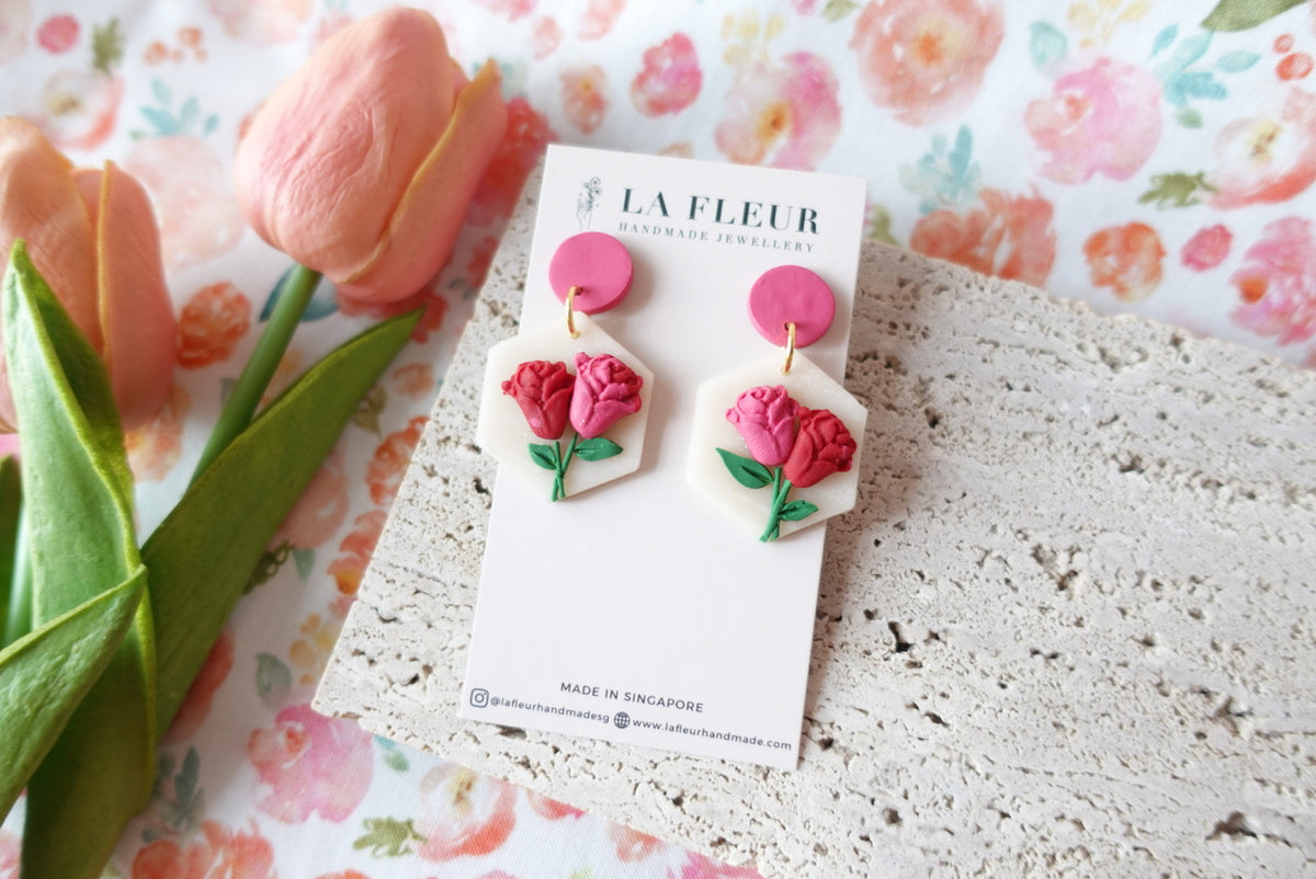 Mother's Day Rose Polymer Clay Earrings 2