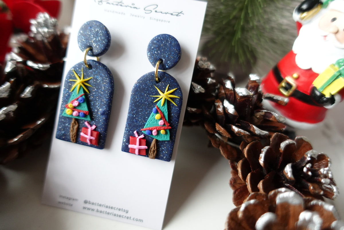 Blue Sparkling Christmas Tree Clay Earrings