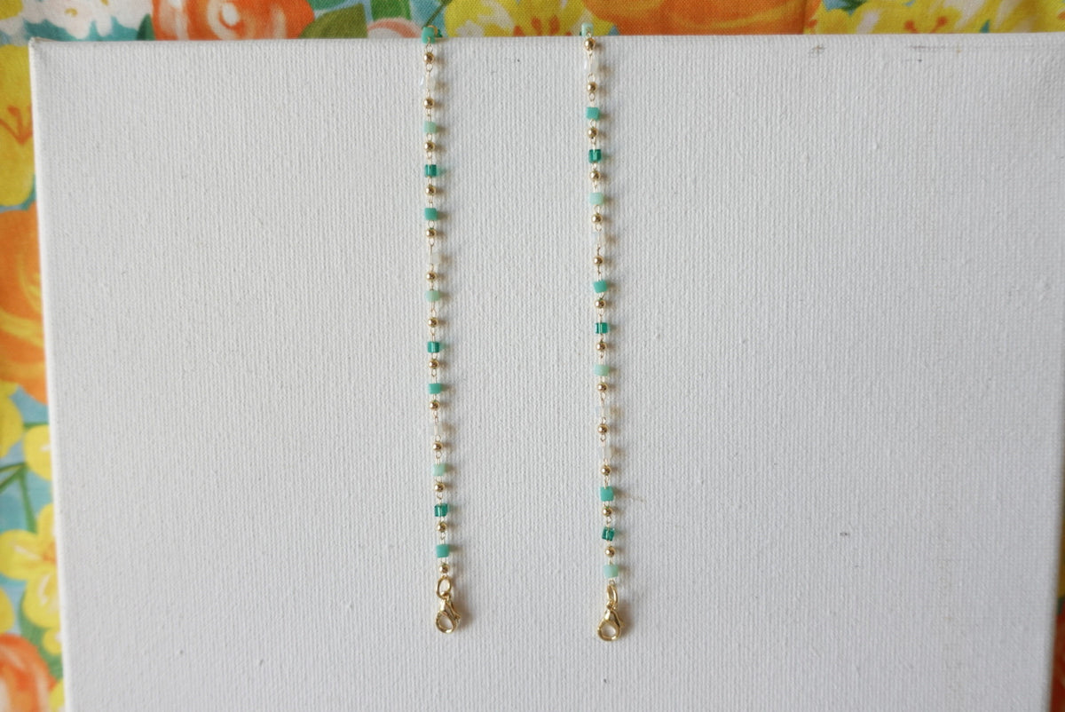Green Ceramic Beads Mask Necklace
