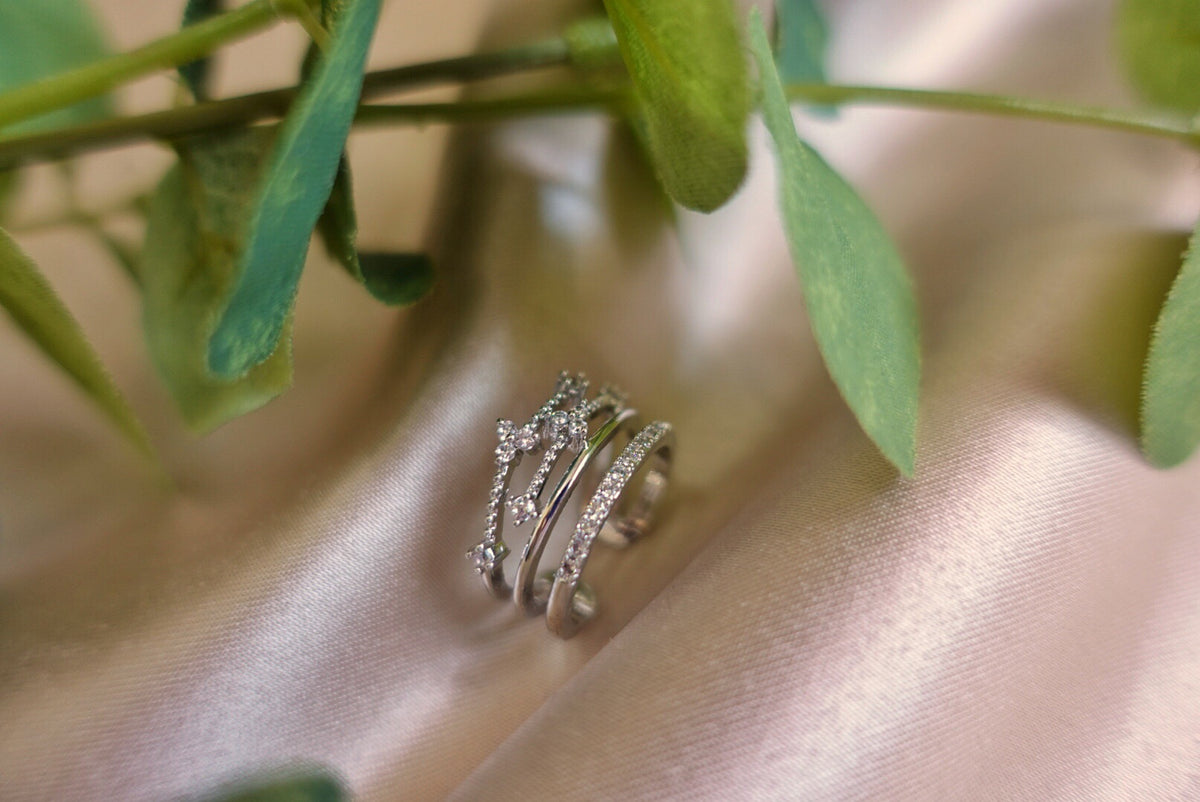Anjelica Silver Crystal Ring
