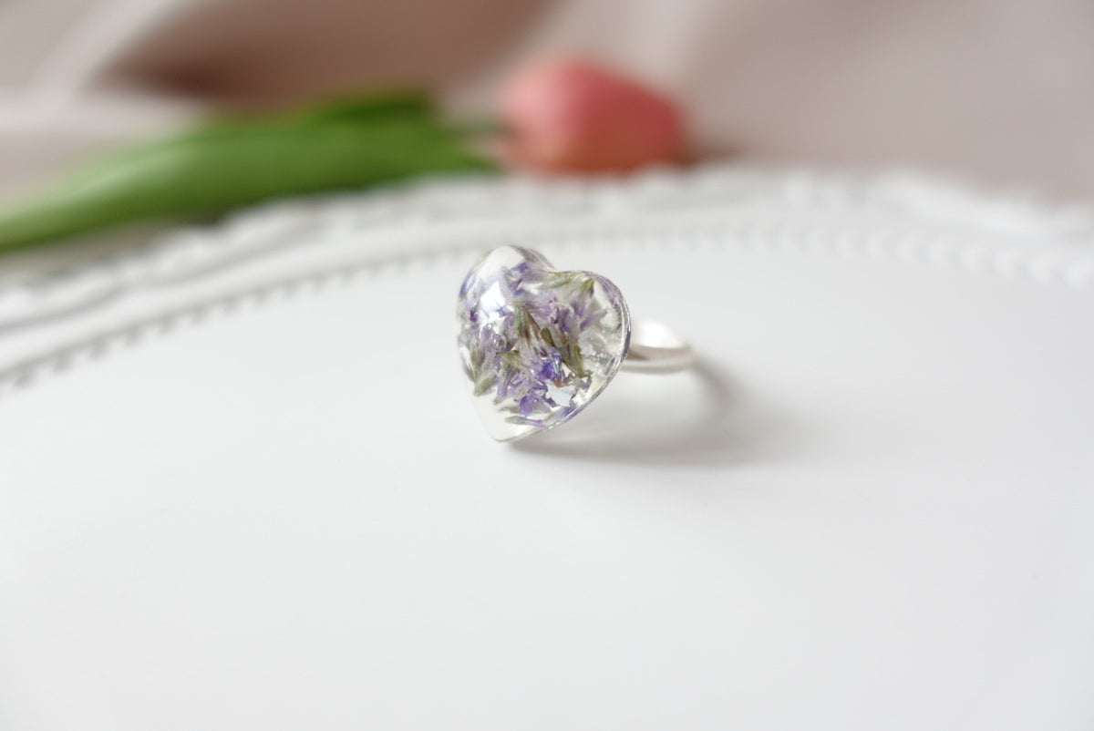 Limonium Flower Heart Ring (adjustable)