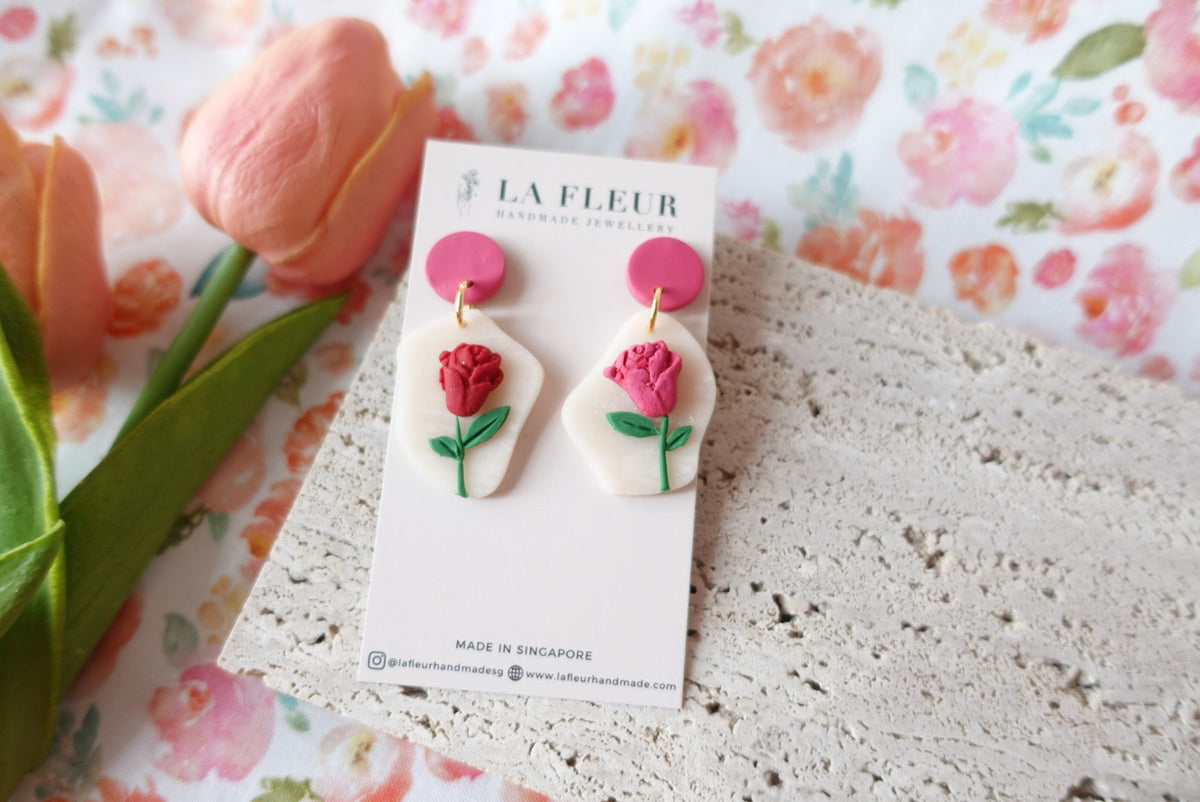 Mother's Day Rose Polymer Clay Earrings 4