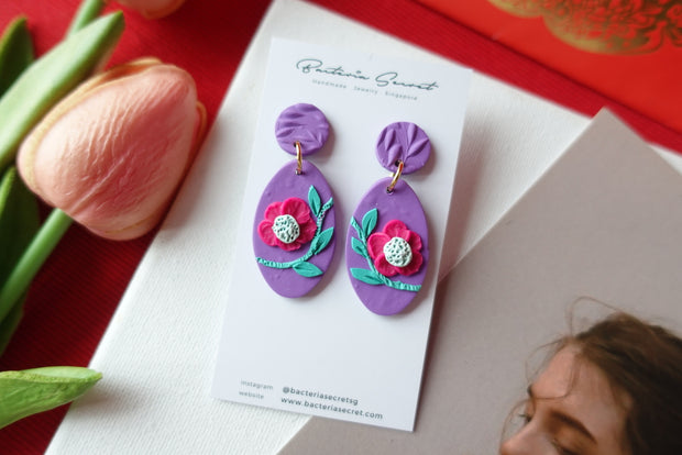 CNY Purple Blossom Bloom Polymer Clay Earrings 3