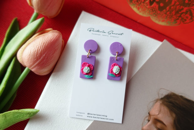 CNY Purple Blossom Bloom Polymer Clay Earrings 6