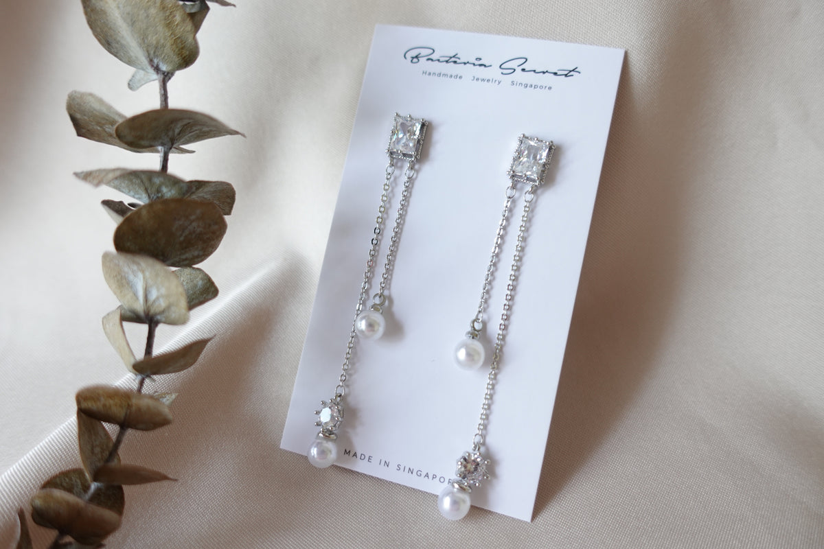 Daylane Silver Crystal Studs with Pearls