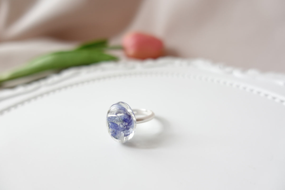 Commelina Flower Oval Ring (adjustable)