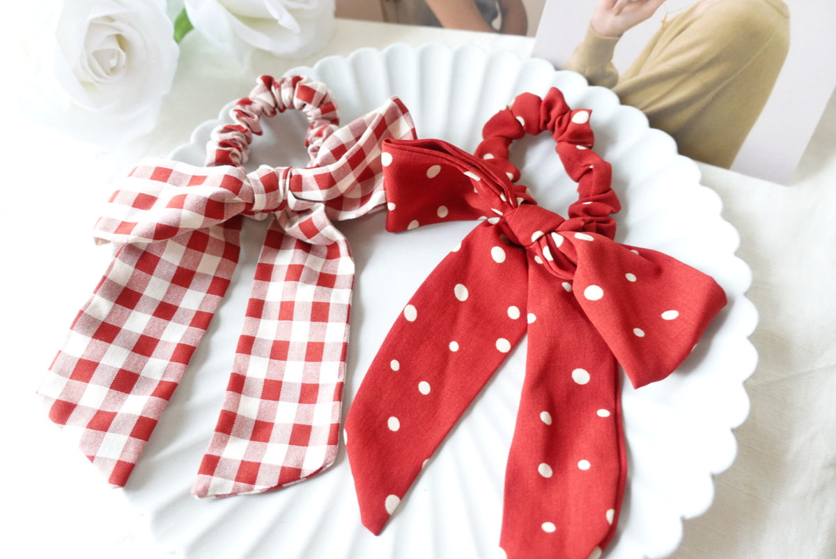 Red Polka Dot Tail Scrunchies