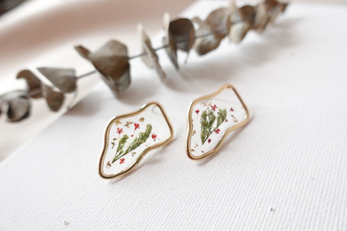 Green Lavender Red Poppy Flower Studs