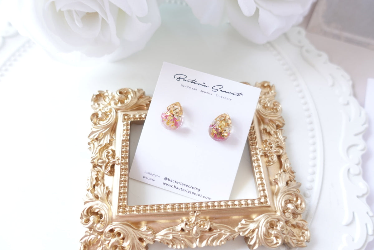 Benita Pink Rose Petal mixed flower Studs