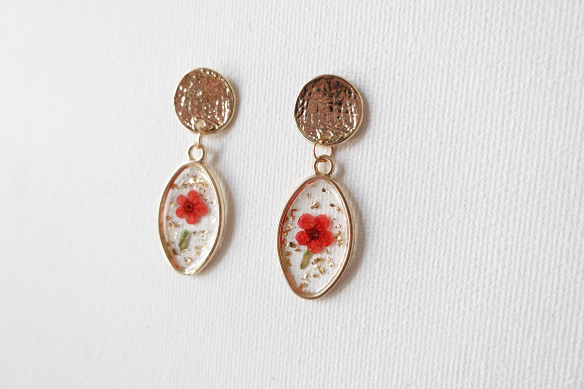Eibe Red Real Flower Studs