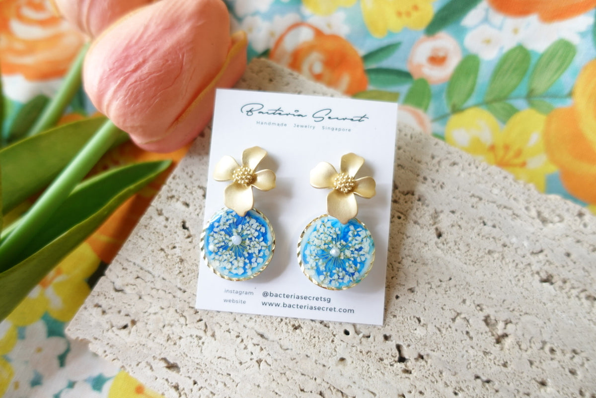 Carmelina Blue Floral Earrings