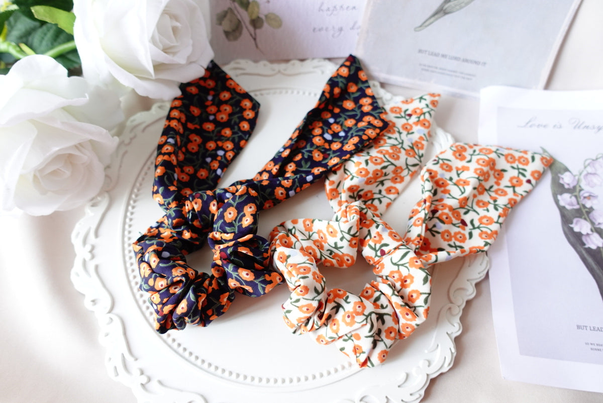 2 ways Floral Tail Scrunchies