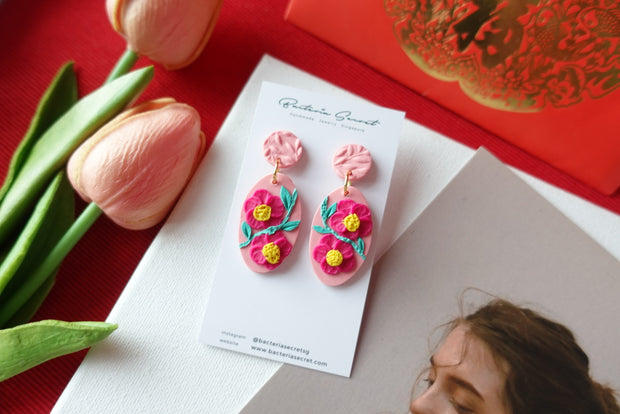 CNY Pink Blossom Bloom Polymer Clay Earrings 5