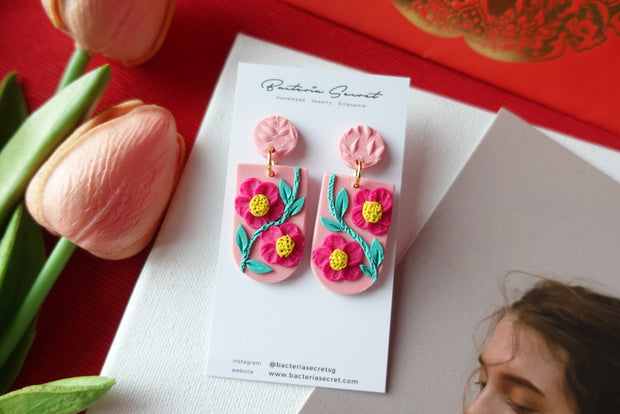 CNY Pink Blossom Bloom Polymer Clay Earrings 3