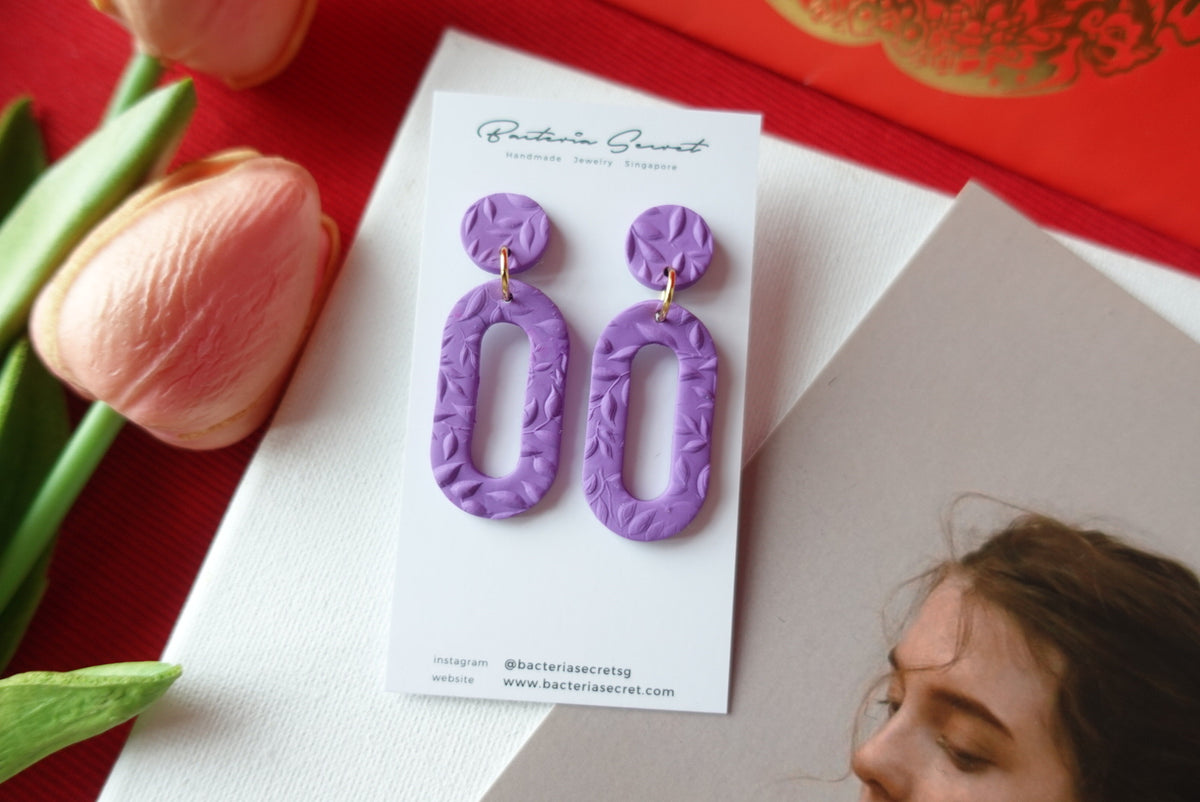 CNY Purple Blossom Bloom Polymer Clay Earrings 7