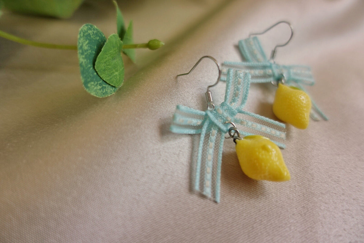 Ribbon Lemon Earrings