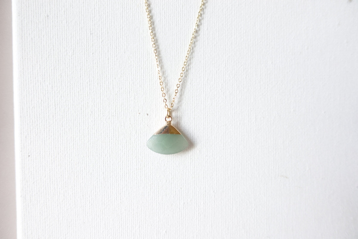 Triangle Gemstone Short Necklace
