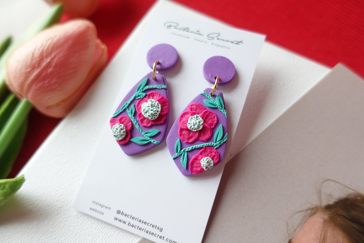 CNY Purple Blossom Bloom Polymer Clay Earrings 1