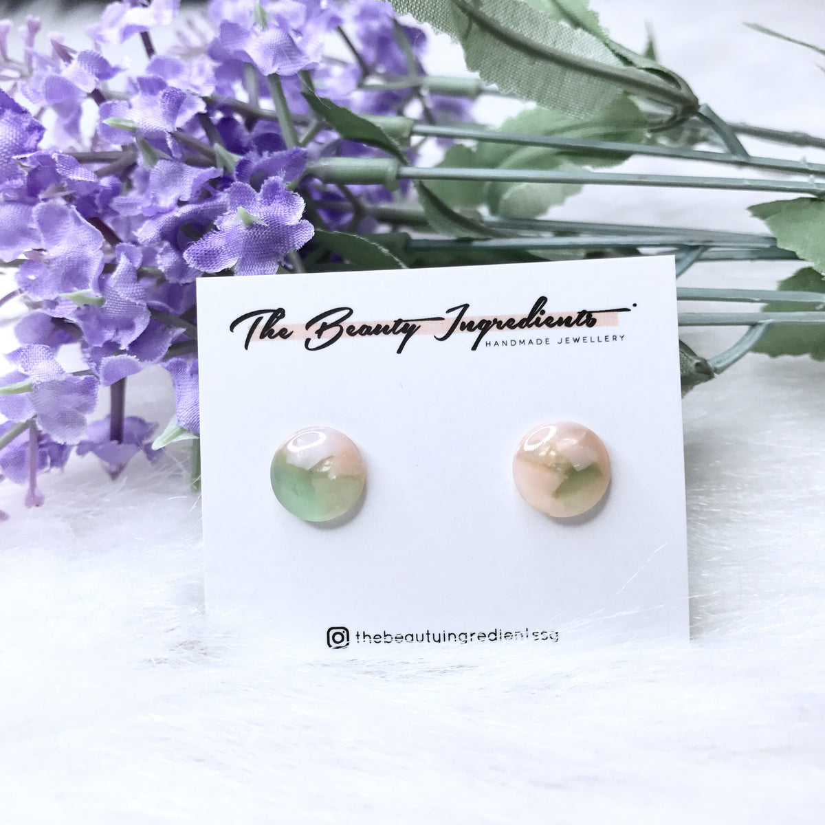 Pink-ish Green Cellulose Re Round Earrings Studs